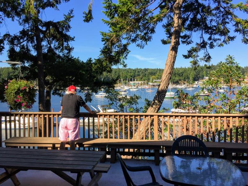 Ein älterer Mann, der über einem Patiogeländer voll denkt und betrachtet die Bucht von den Segelbooten steht stockfoto