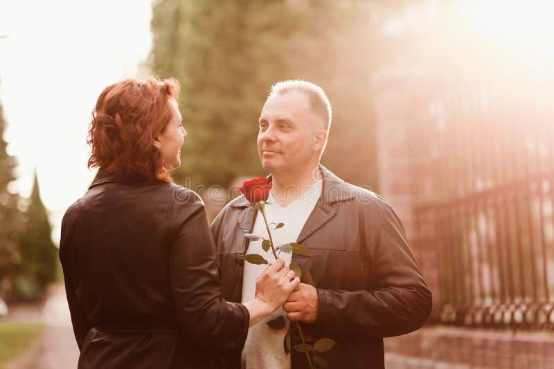 Ein älterer Mann gibt einer Frau eine rote Rose Gl?ckliches verheiratetes Paar lizenzfreies stockbild