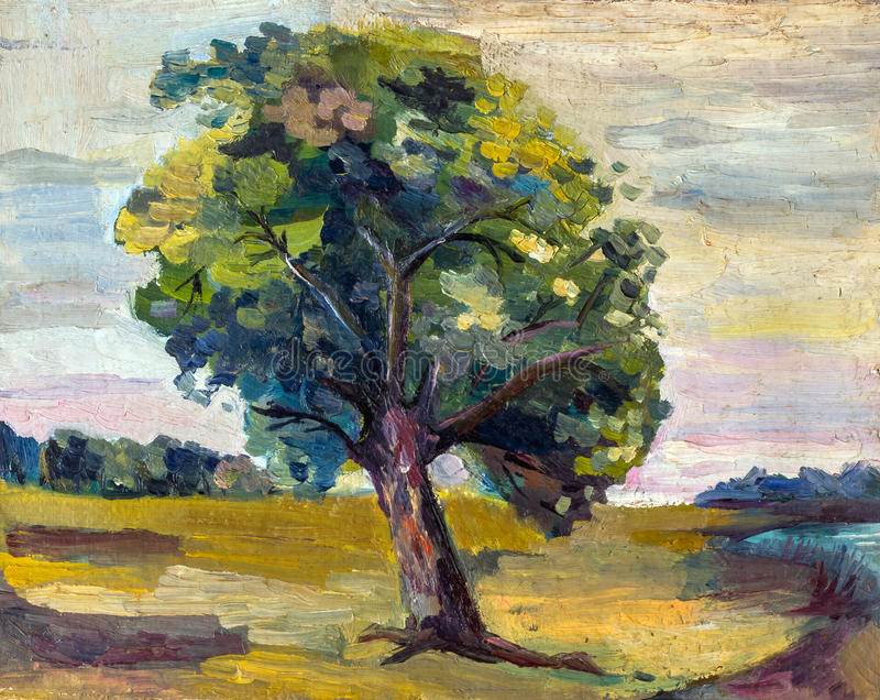 Ein Ölgemälde auf Segeltuch einer ländlichen Landschaft des Saisonherbstes mit allein buntem altem Birnenbaum lizenzfreie abbildung