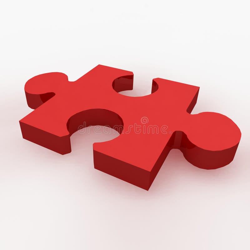 Ein 3d übertragen von einem roten Puzzlespielstück lizenzfreie abbildung