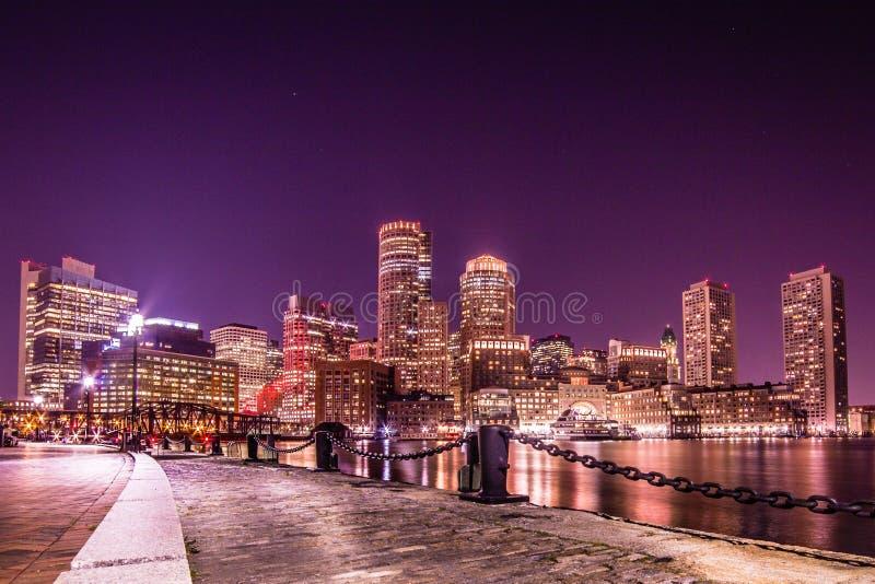 Ein Abend in Boston stockbilder