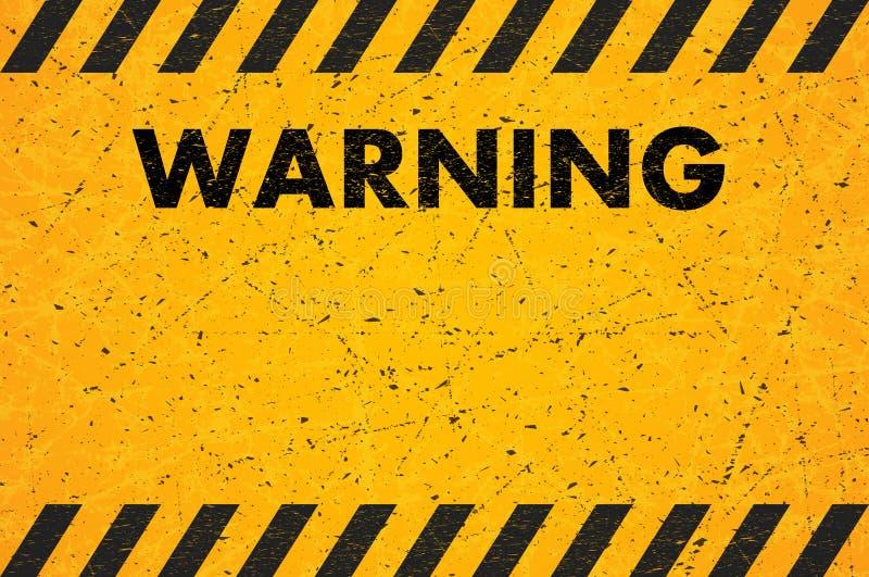 Ein abgenutztes schwarzes gestreiftes Rechteck der gelb-orangeen Farbe Verkratztes Warnzeichen Auch im corel abgehobenen Betrag stock abbildung