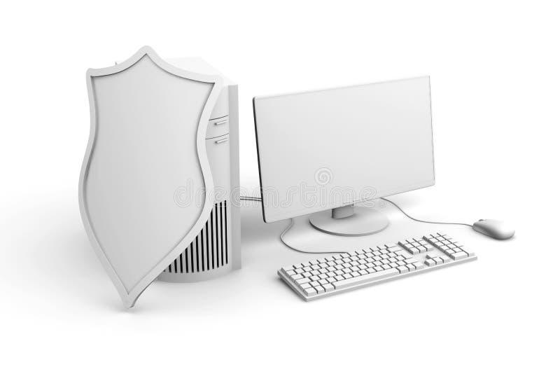 Ein abgeschirmtes und geschütztes Tischrechnersystem lizenzfreie abbildung