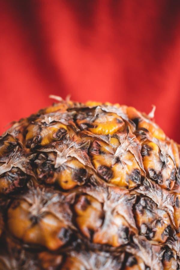 Ein Abschluss oben einer Ananas in einem roten Hintergrund stockfotos