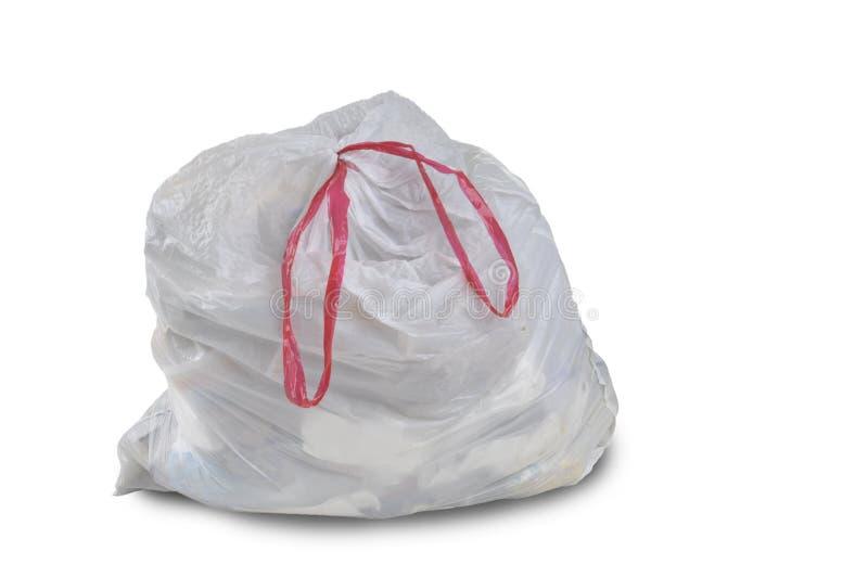 Ein Abschluss oben einer weißen Abfallabfalltasche lizenzfreies stockfoto