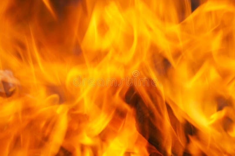 Ein Abschluss oben von intensiven roten Flammen in einem Feuer blurry stockfotografie