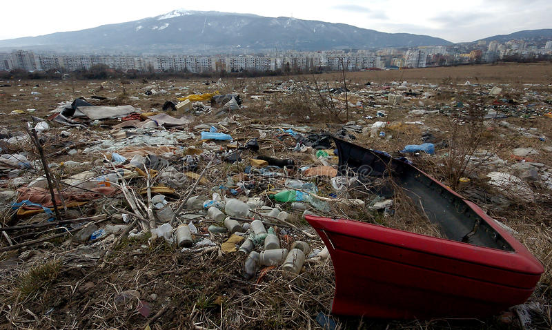 Ein Abschnitt einer Müllgrube gelegen in Sofia, Bulgarien lizenzfreie stockfotos