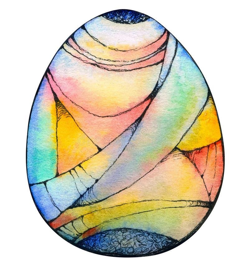Ein abstraktes Ei mit geometrischer Verzierung des Aquarells lizenzfreie abbildung