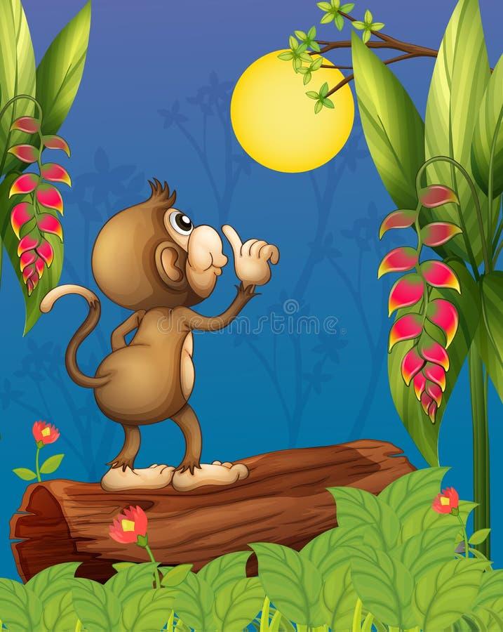 Ein Affe, der den Mond betrachtet lizenzfreie abbildung