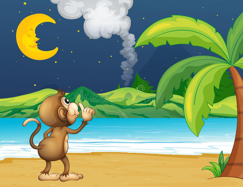 Ein Affe, der in den Strand schlendert vektor abbildung