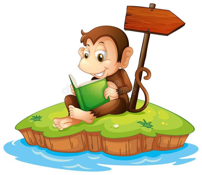 Ein Affe, der ein Buch in einer Insel liest lizenzfreie abbildung