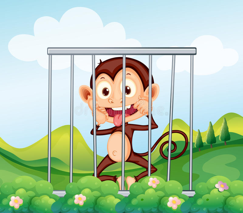 Ein Affe innerhalb des Käfigs lizenzfreie abbildung