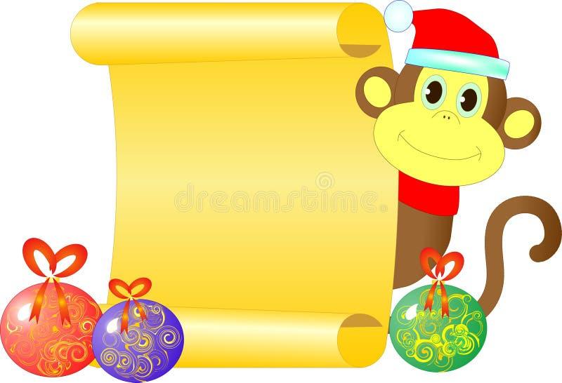Ein Affe mit einer leeren Rolle lizenzfreie stockbilder