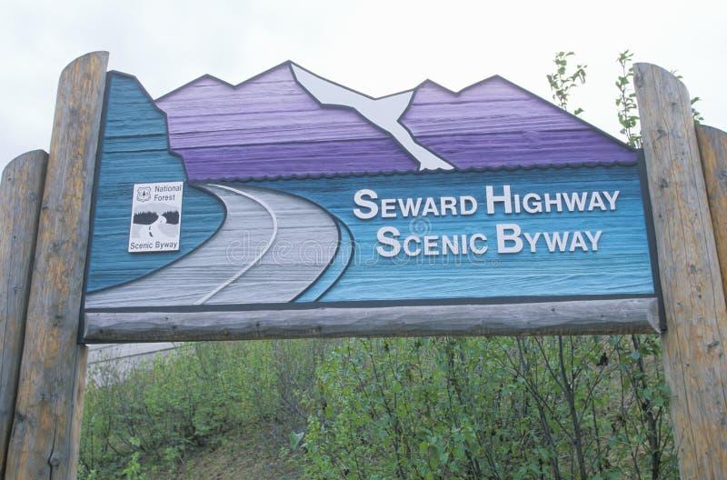 Ein alaskisches Landstraßenzeichen stockfoto