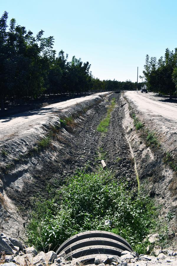 Ein alter Bewässerungsabzugsgraben nett und trocken stockfotos