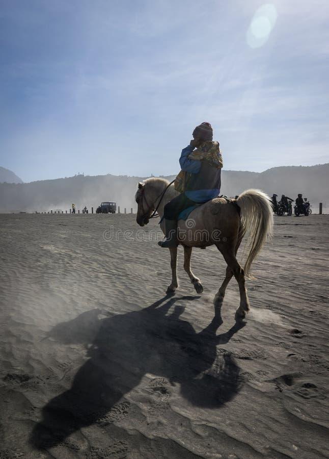 Ein alter Mann, der einen Schimmel an der Wüste reitet lizenzfreie stockfotos
