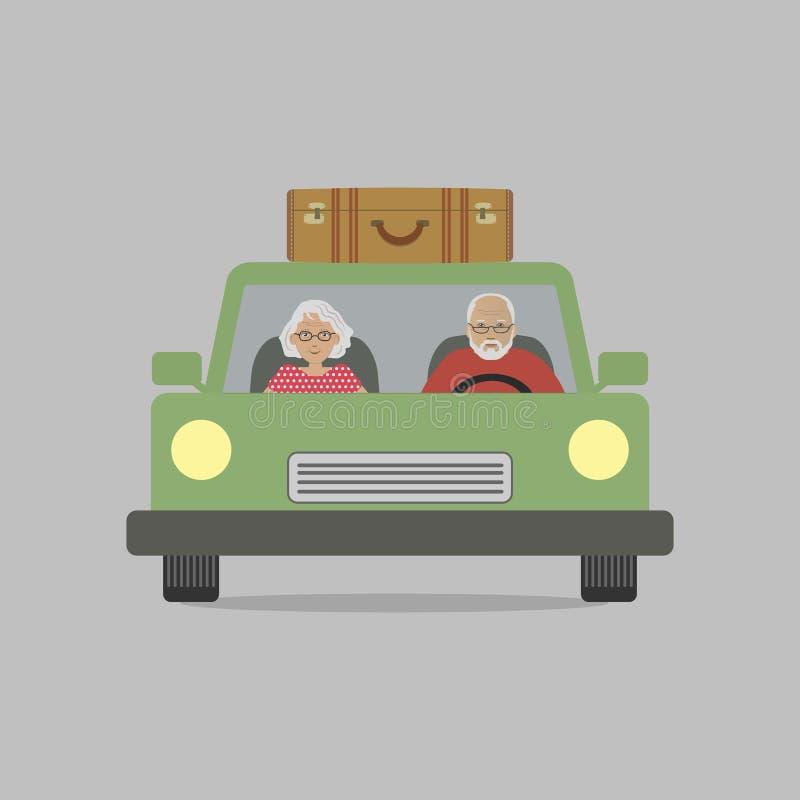 Ein alter Mann und eine alte Dame in einem grünen Auto stock abbildung