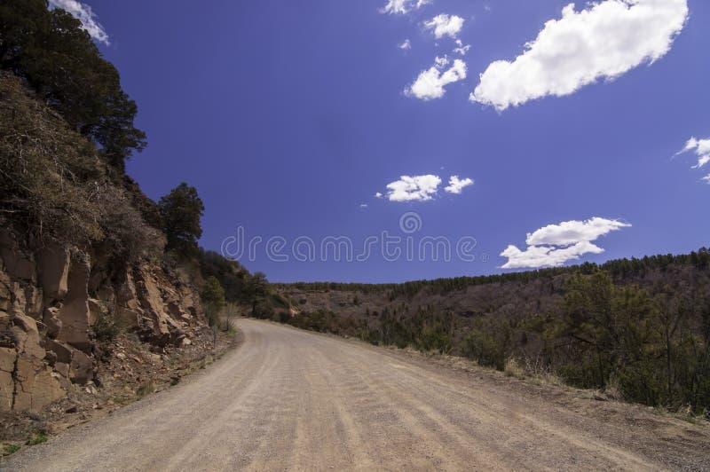 Ein alter Schotterweg in den Bergen in Prescott National Forest in Arizona an einem sch?nen Fr?hlingstag lizenzfreies stockfoto