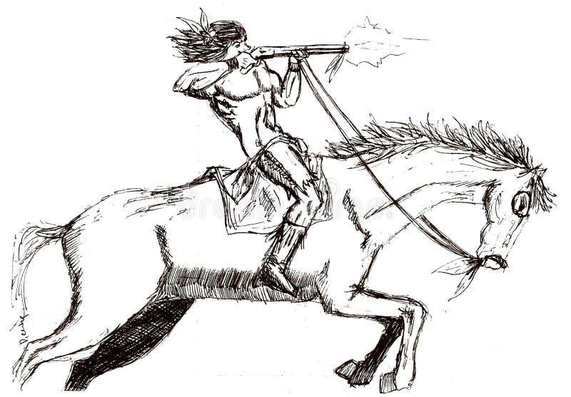 ein amerikanischer Ureinwohner, der mit einem Gewehr auf einem galoppierenden Mustang schießt stock abbildung