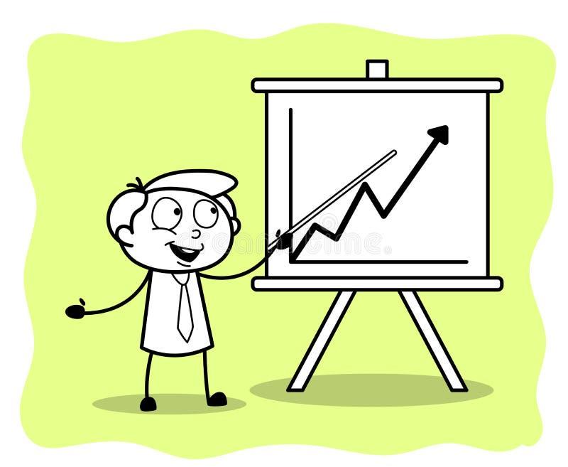 Ein Angestellter, der ein Geschäfts-Diagramm in der Sitzung darstellt lizenzfreie abbildung