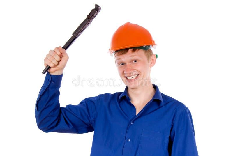 Ein Angestellter wirft auf stockbild