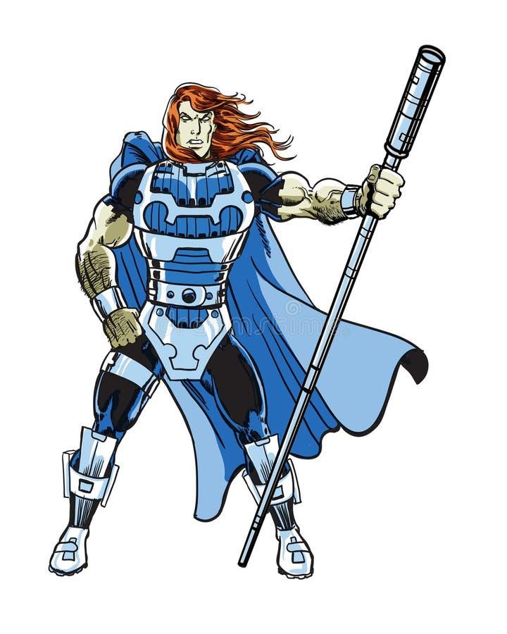 Ein angetriebener kosmischer Comic-Held-Supercharakter lizenzfreie abbildung