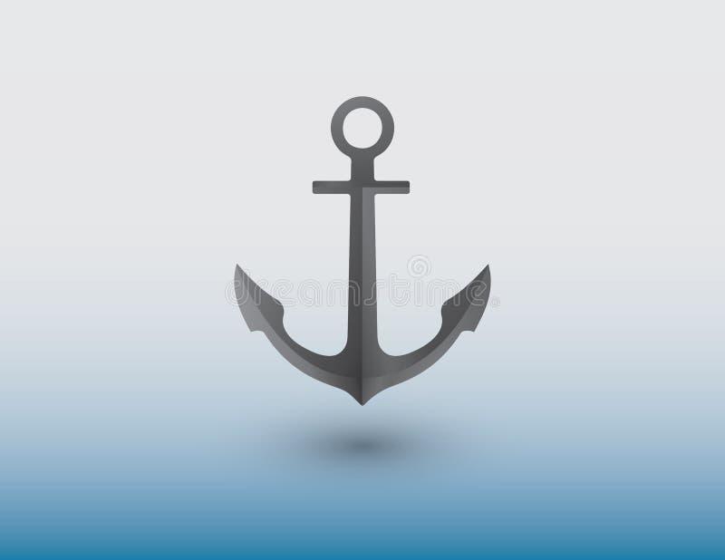 Ein Anker hergestellt vom Eisen, damit Schiffsvektor Schiff im Meer auf blauem Hintergrund sichert stock abbildung