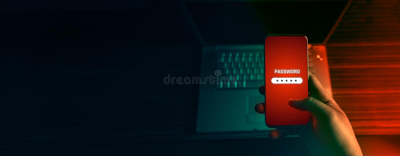 Ein anonymer Hacker und Gebrauch eine Schadsoftware mit Handy, Passwort zu zerhacken die Personendaten lizenzfreie stockfotografie