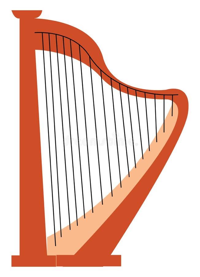 Ein antikes, von Fingern gespieltes Musikinstrument, genannt Harp-Vektor-Farbzeichnung oder -Illustration lizenzfreie abbildung