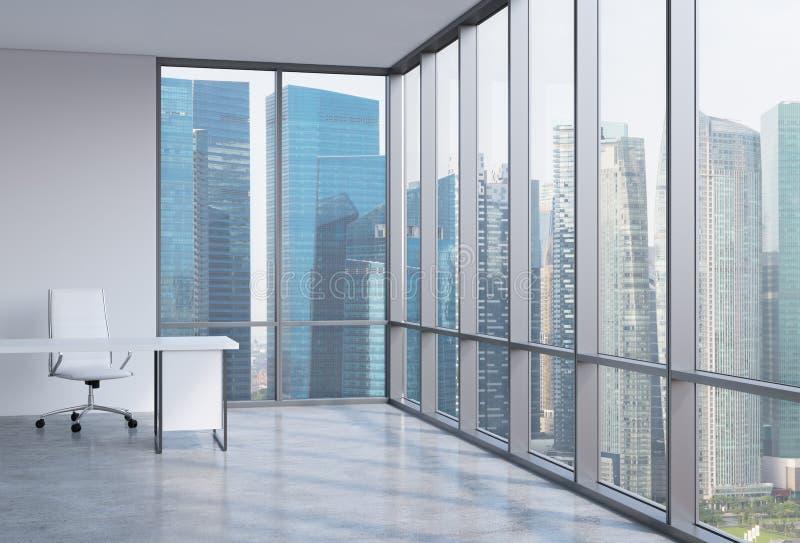Ein Arbeitsplatz in einem modernen panoramischen Eckbüro Geschäftsgebiet in Singapur stockbild