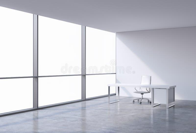 Ein Arbeitsplatz in einem modernen panoramischen Eckbüro, Kopienraum auf Fenstern Ein weißer Lederstuhl und eine weiße Tabelle stock abbildung