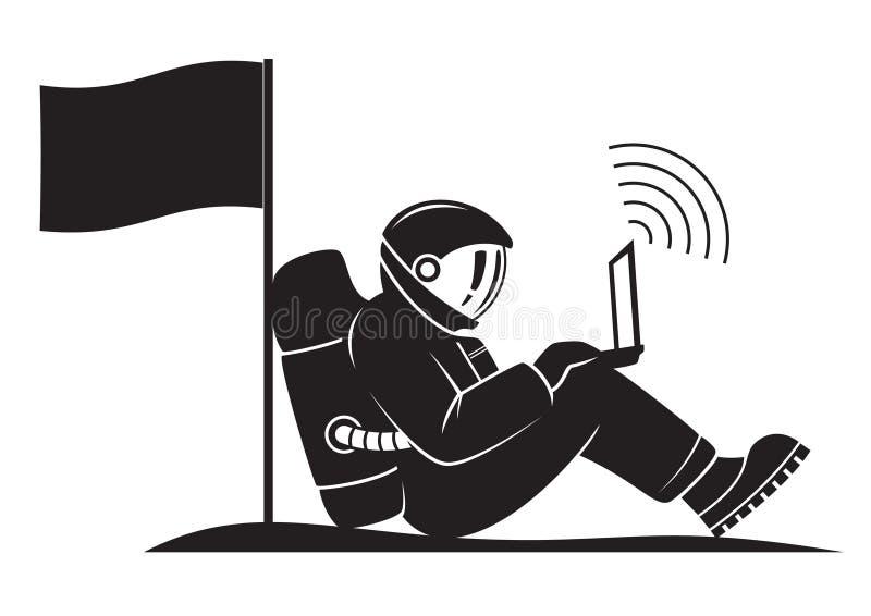 Ein Astronaut steht aus den Grund still und sendet ein Signal stockbilder