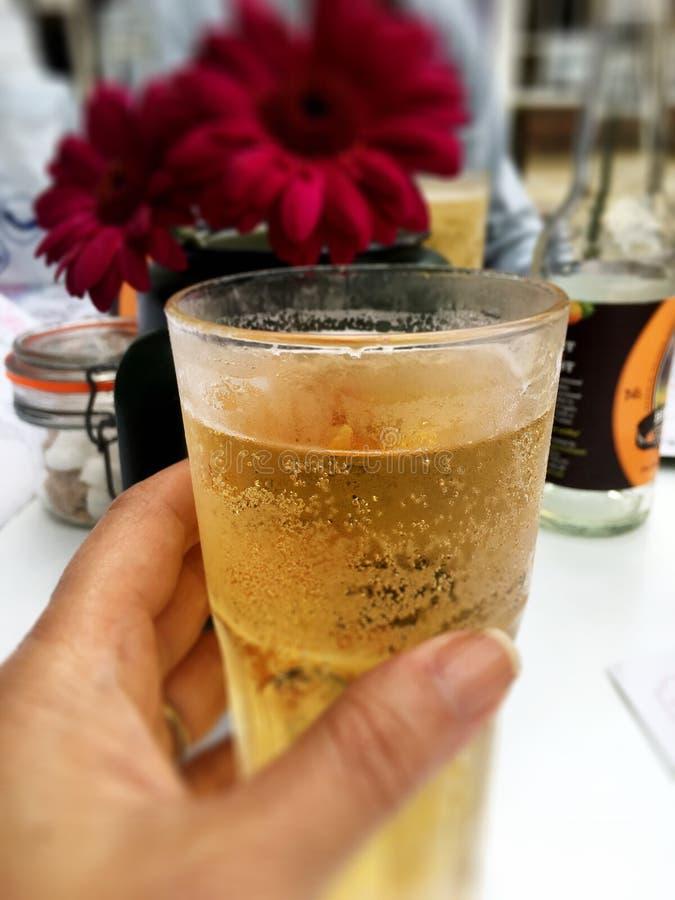 Ein Auffrischungsglas Apfelwein lizenzfreie stockfotos