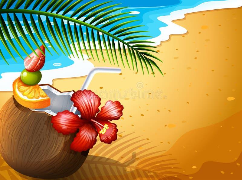 Ein Auffrischungskokosnusssaftgetränk am Strand vektor abbildung
