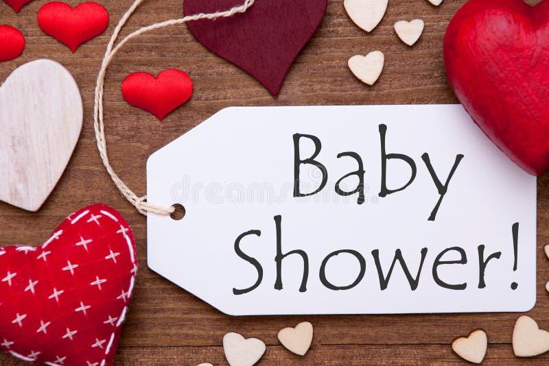 Ein Aufkleber, rote Herzen, Babyparty, Makro lizenzfreies stockfoto