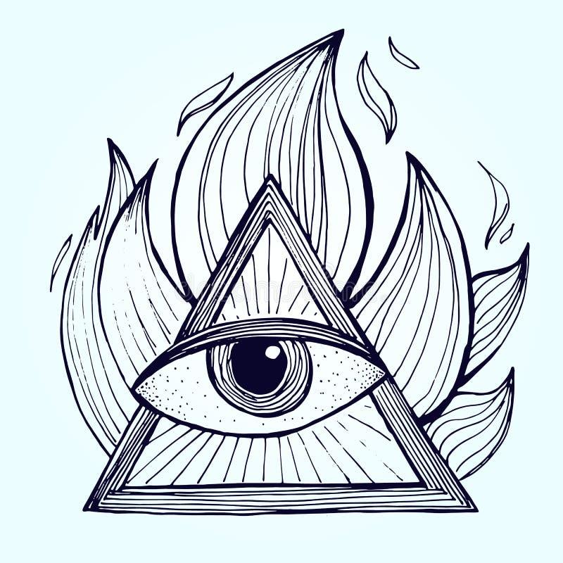 Ein Auge mit Pyramide im Feuer auf Hintergrund Alchimie Freimaurer-symbo stock abbildung