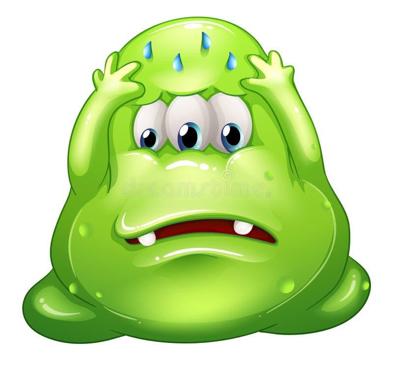 Ein ausfallen fettes grünes Monster stock abbildung
