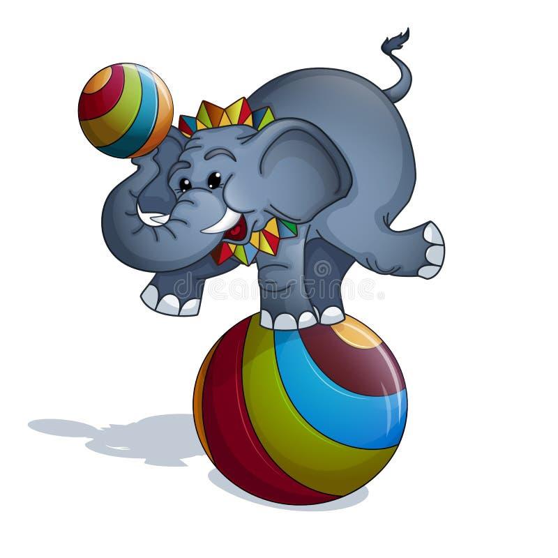 Ein ausgebildeter Elefant in einem bunten Kragen steht und balanciert, auf einem mehrfarbigen gestreiften Ball und hält einen hel stockfoto