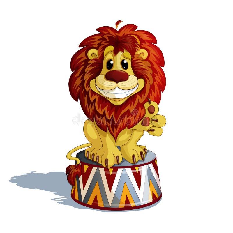 Ein ausgebildeter Löwe sitzt auf einem Zirkusstand, Lächeln und zeigt ein Tatzenzeichen für die Gleichen stockbilder