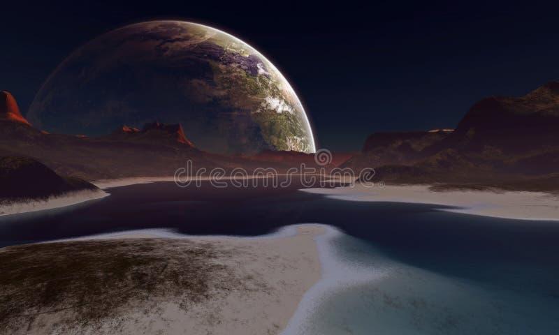 Ein ausländischer Mond steigt am Horizont lizenzfreie abbildung