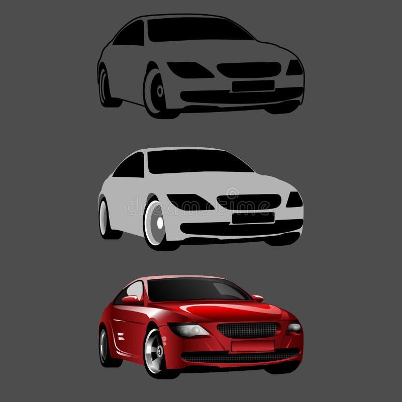 Ein Auto 3D in den Schritten zeichnend, Vector Tutorium lizenzfreie abbildung