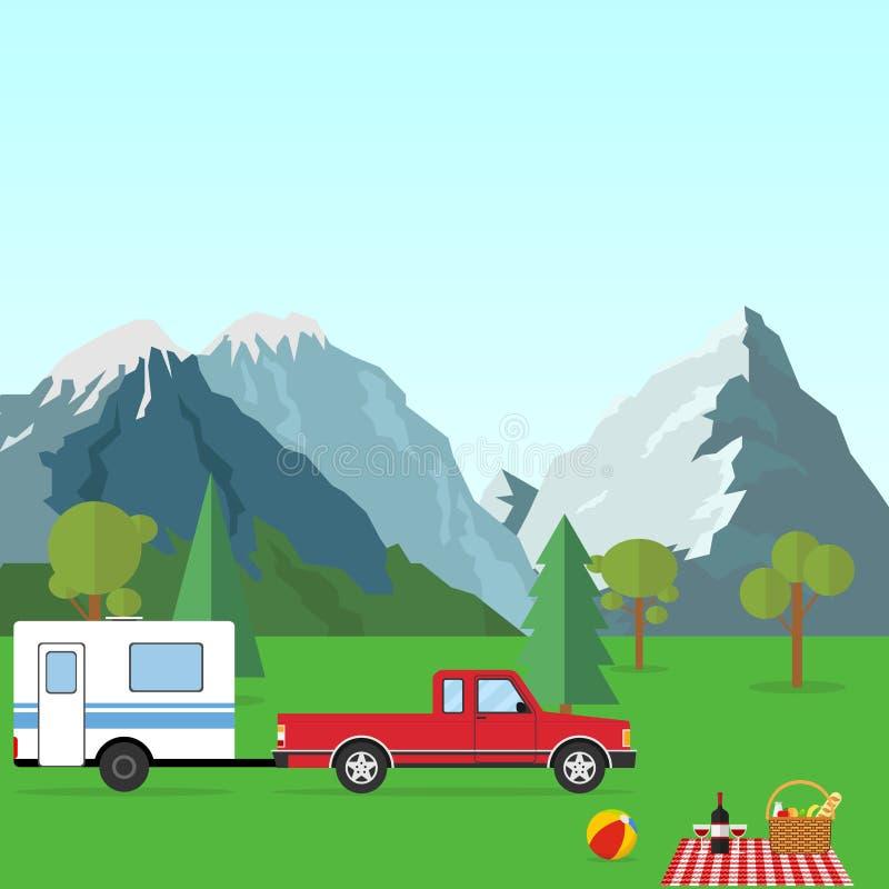 Ein Auto mit einem Anhänger in der Natur Kampieren in den Bergen vektor abbildung