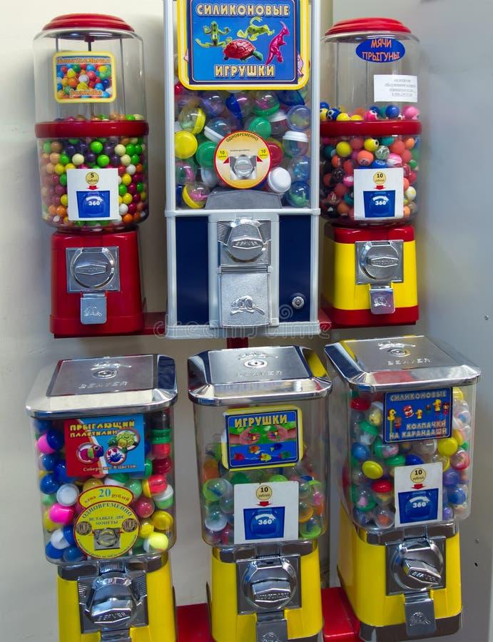 Ein Automat für den Verkauf von von Silikonspielwaren und -kaugummis lizenzfreie stockbilder