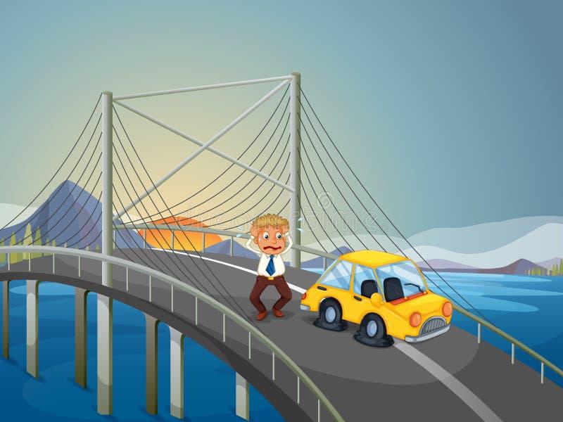 Ein Autounfall An Der Brücke Vektor Abbildung - Illustration von ...