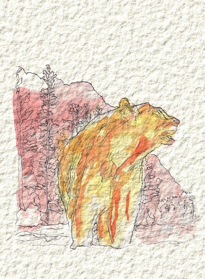Ein Bär in den Bergen im Aquarell und in der Tinte lizenzfreies stockbild