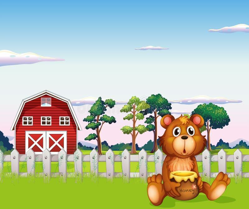 Ein Bär, der außerhalb des Zauns am Bauernhof sitzt vektor abbildung
