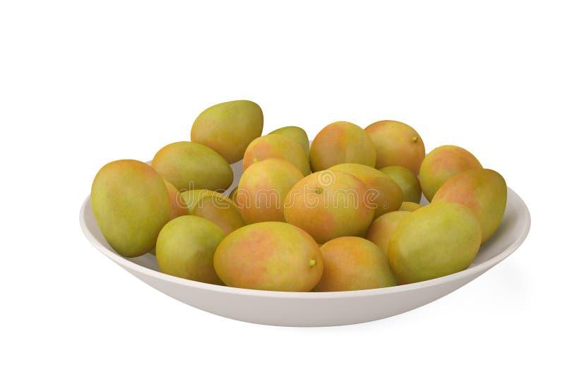 Ein Bündel der Mango auf weißem Hintergrund Abbildung 3D stock abbildung