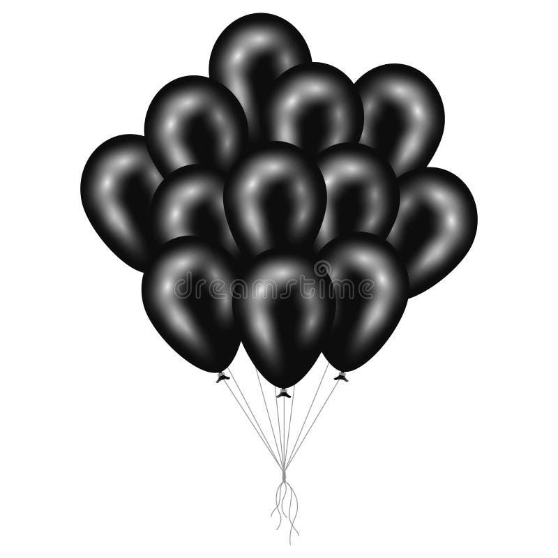Ein Bündel glänzende schwarze Ballone lokalisiert auf weißem Hintergrund Vektor stock abbildung