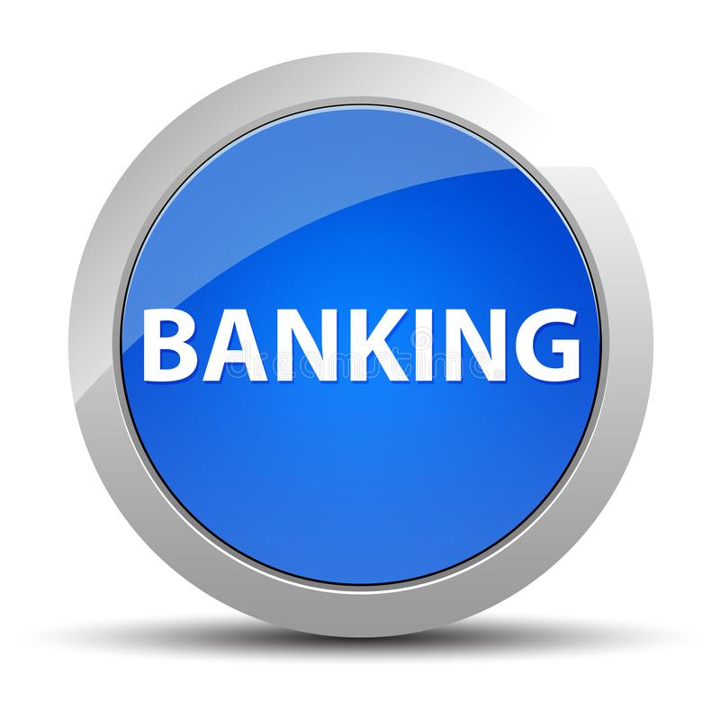 Ein Bankkonto haben des blauen runden Knopfes lizenzfreie abbildung