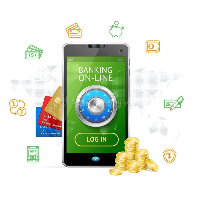 Ein Bankkonto haben on-line-Konzept-Handy-APP Vektor stock abbildung